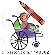 Clipart Of A Doodled Sketch Of A Handicap Stick Boy Holding A Giant Pencil In A Wheelchair Royalty Free Vector Illustration