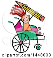 Clipart Of A Doodled Sketch Of A Handicap Stick Girl Holding A Giant Pencil In A Wheelchair Royalty Free Vector Illustration