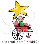 Clipart Of A Doodled Sketch Of A Handicap Stick Boy Holding Up A Star In A Wheelchair Royalty Free Vector Illustration