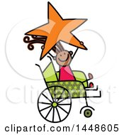 Poster, Art Print Of Doodled Sketch Of A Handicap Stick Girl Holding Up A Star In A Wheelchair