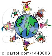 Clipart Of A Doodled Sketch Of Stick Children In Wheelchairs Using Crutches Walking And Running Around The Globe Royalty Free Vector Illustration