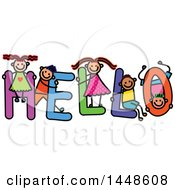 Clipart Of A Doodled Sketch Of Stick Children Playing On The Word Hello Royalty Free Vector Illustration