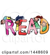 Clipart Of A Doodled Sketch Of Stick Children Playing On The Word Red Royalty Free Vector Illustration
