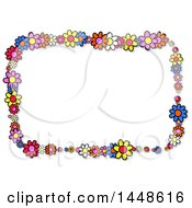 Rectangular Frame Of Colorful Daisy Flowers