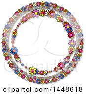 Round Frame Of Colorful Daisy Flowers