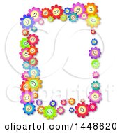 Poster, Art Print Of Border Of Colorful Happy Daisy Flowers