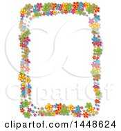 Border Frame Of Bright Colorful Daisy Flowers