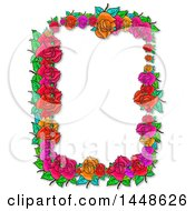Poster, Art Print Of Border Frame Of Roses And Leaves