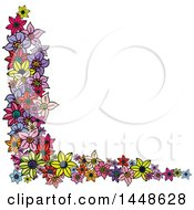 Clipart Of A Corner Border Design Element Of Colorful Flowers Royalty Free Vector Illustration