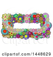 Border Of Colorful Daisy Flowers And Hearts