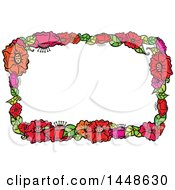 Clipart Of A Border Frame Of Flowers Royalty Free Vector Illustration