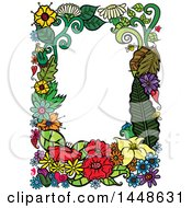 Clipart Of A Border Frame Of Flowers Royalty Free Vector Illustration by Prawny