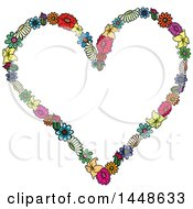 Clipart Of A Heart Formed Of Colroful Flowers Royalty Free Vector Illustration
