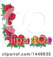Clipart Of A Corner Border Design Element Of Roses Royalty Free Vector Illustration