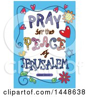 Poster, Art Print Of Colorful Sketched Scripture Pray For The Peace Of Jerusalem Text In A Blue Border