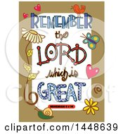 Colorful Sketched Scripture Remember The Lord Which Is Great Text In A Tan Border