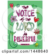 Poster, Art Print Of Colorful Sketched Scripture The Voice Of The Lord Is Powerful Text In A Green Border