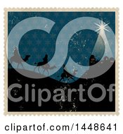 Clipart Of Distressed Stamp Scene Of The Magi Wise Men On Camels Royalty Free Illustration