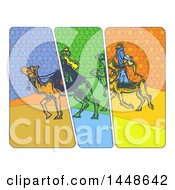 Poster, Art Print Of The Magi Wise Men On Camels In Comic Style On A White Background