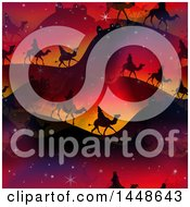 Poster, Art Print Of Seamless Background Of The Magi Wise Men On Camels