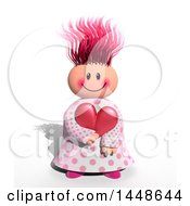 Happy Girl Holding A Love Heart On A White Background With A Shadow