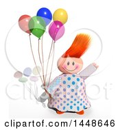 Poster, Art Print Of Happy Girl Holding Balloons On A White Background With A Shadow