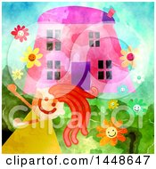 Clipart Of A Happy Girl Playing Outsider Her Home Royalty Free Illustration
