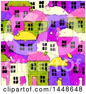 Background Of Colorful Village Townhomes In Watercolor