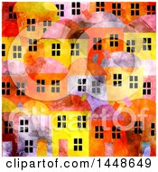 Clipart Of A Background Of Village Townhomes In Watercolor Royalty Free Illustration
