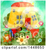Clipart Of A Happy Boy And Girl Playing Outsider Their Home Royalty Free Illustration