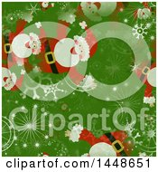 Clipart Of A Seamless Christmas Pattern Background Of Santa And Snowflakes On Green Royalty Free Illustration