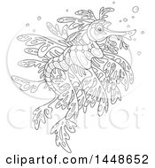 Clipart Of A Cartoon Black And White Lineart Leafy Seadragon Royalty Free Vector Illustration