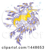 Clipart Of A Purple And Yellow Leafy Seadragon Royalty Free Vector Illustration