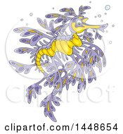 Clipart Of A Cartoon Beautiful Purple And Yellow Leafy Seadragon Royalty Free Vector Illustration