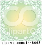 Clipart Of A Gradient Green Background With A White Floral Border Royalty Free Vector Illustration
