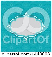 Clipart Of A Blank Frame Text Box Over A Bright Blue Vintage Floral Damask Pattern Royalty Free Vector Illustration by KJ Pargeter