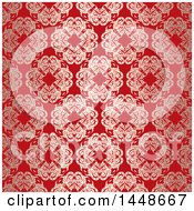 Clipart Of A Red Ornate Floral Pattern Background Royalty Free Vector Illustration by KJ Pargeter
