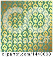 Clipart Of A Distressed Ornate Gold And Green Pattern Background Royalty Free Vector Illustration