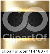 Clipart Of A Background Of Golden Metal And A Black Perforated Frame Royalty Free Vector Illustration by KJ Pargeter
