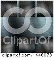 Clipart Of A Background Of Dark Metal Plaques Over Silver Royalty Free Illustration by KJ Pargeter