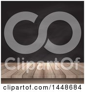 Poster, Art Print Of Wooden Table Surface Against A Black Board Background