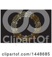 Clipart Of A Black Background Or Business Card Design With An Ornate Golden Round Frame Royalty Free Vector Illustration