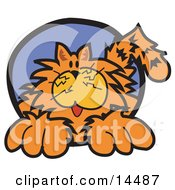 Chubby Happy Orange Cat Clipart Illustration
