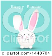 Clipart Of A Happy Easter Greeting With A Cute White Bunny Rabbit On Turquoise Royalty Free Vector Illustration by KJ Pargeter