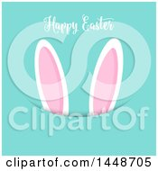 Clipart Of A Happy Easter Greeting With Bunny Ears On Turquoise Royalty Free Vector Illustration by KJ Pargeter