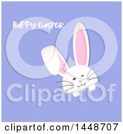 Clipart Of A Happy Easter Greeting With A Cute White Bunny Rabbit Peeking From A Pocket On Purple Royalty Free Vector Illustration by KJ Pargeter