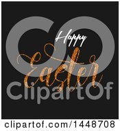Happy Easter Greeting With Gold Glitter On Black