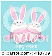 Clipart Of A Happy Easter Greeting With Cute White Bunny Rabbits On Blue Royalty Free Vector Illustration by KJ Pargeter