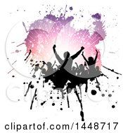 Clipart Of A Crowd Of Silhouetted Dancers In A Purple Ray Splatter On White Royalty Free Vector Illustration
