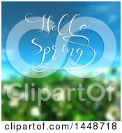 Clipart Of A Blurred Bush And Blue Sky With Hello Spring Text Royalty Free Vector Illustration